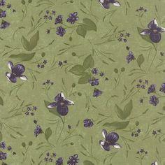 Moda Fabric Lady Slipper Lodge Violets on Pine Green Yards | eBay