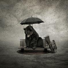 Lonely song (by Leszek Bujnowski) [bear] [umbrella] [tuba] Surrealism Photography, Art Photography, People Photography, Illustrations, Illustration Art, Lonely Song, Under My Umbrella, Umbrella Art, Love Bear
