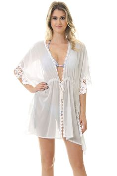 Saída De Praia Renda Lateral Off White - lojacaos Simple Dresses, Sexy Dresses, Fashion Dresses, Unique Fashion, Womens Fashion, Fashion Design, Vestidos Sexy, Beach Attire, Plus Size Swimwear