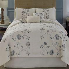 Flowering Vine Embroidered Floral Quilt Bedding