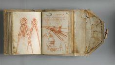 Leonardo da Vinci,  Manuscrit H | 1493-1494 Fol 108 verso : Dessin. Compas de proportion. Fol 109 recto : L'oeil du chat la nuit. Machine