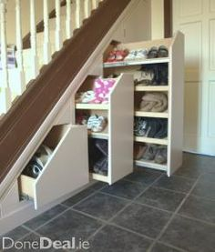 18 Useful Designs for Your Free Under Stair Storage Take advantage of unused space under the basement stairs with these inexpensive (and DIY! storage under stairs 10 Under Stair Storage Ideas that Make Your House Look Stunning Staircase Storage, Diy Storage Shelves, Attic Storage, Storage Ideas, Storage Units, Under Stair Storage, Storage Solutions, Extra Storage, Attic Organization