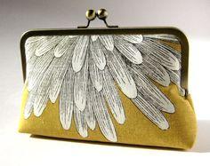 Chrysanthemum  silk lined yellow floral clutch, BagNoir, Wedding clutch, Bridesmaid gift idea, Evening purse, Bridesmaid clutch