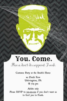 Please don't disappoint Frank. This is a modern, fun and FREE DIY Printable Halloween Invite that is begging to be used!