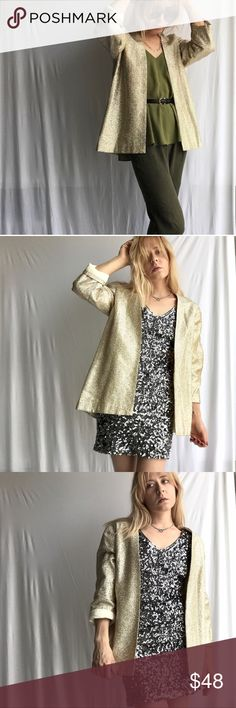 """Vintage Gold Blazer, Handmade Wow I can't even go anywhere without getting a compliment on this awesome Vintage Gold Sparkle Handmade Blazer. Time for someone else to be a rockstar everyday with this piece!  ⚡️✨😎  19"""" laid flat chest.. I'm an XS/S & its oversized on me but looks great. Fits a S - M. Hangs open no buttons, inside the jacket there's a couple of marks from the outline where it was sewn, see photos. Not noticeable once worn. Vintage Jackets & Coats Blazers"""