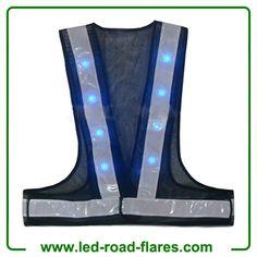 China Led Safety Reflective Vest High-Visibility Reflective Led Safety Vest with 16 lights Suppliers and Manufacturer Road Flares, Led Strobe, Vests, Safety, Navy Blue, China, Lights, Amazon, Security Guard