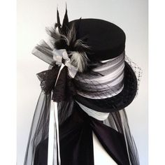 Victorian Gothic steampunk wedding top hat ❤ liked on Polyvore featuring accessories, hats, top hat, steam punk hats, long hat, steampunk top hat and band hats