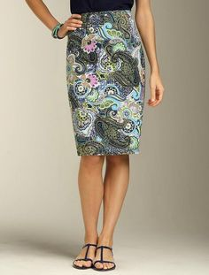 Talbots - Paisley-Swirl Pencil Skirt