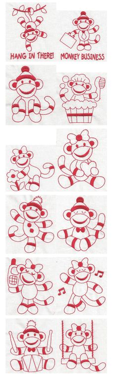 Sock Monkeys Too Redwork