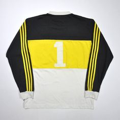 Vintage 90s ADIDAS TEAM Jersey Adidas Long Sleeve Adidas Yellow Shirt... ❤ liked on Polyvore featuring tops, adidas shirt, long-sleeve shirt, yellow long sleeve shirt, vintage tops and print shirts
