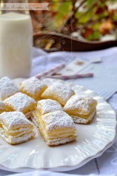 hojaldres rellenos de crema y crema pastelera.