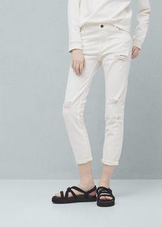 Nancy crop relaxed jeans - Jeans voor Dames   MANGO Nederland