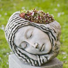Campania International Sleeping Maiden Cast Stone Planter - Planters at Hayneedle Stone Planters, Face Planters, Urn Planters, Cement Planters, Magic Garden, Garden Art, Garden Design, Garden Ideas, Decoration Plante