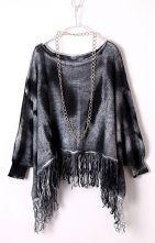 Black Camouflage Batwing Long Sleeve Tassel Sweater $40