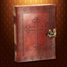 Dark brown leather journal with embossed Crusader cross & borders adorned with Celtic designs. 300 pages of handmade paper. Bookbinding Tutorial, Unique Gifts For Him, Wall Candle Holders, Valentines Day Gifts For Him, Knights Templar, Celtic Designs, Leather Journal, Book Binding, Dark Brown Leather