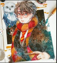 Harry potter Harry and Hedwig Harry Potter Fan Art, Harry Potter Part 1, Carte Harry Potter, Fans D'harry Potter, Images Harry Potter, Harry Potter Drawings, Harry Potter Fandom, Harry Potter Memes, Manga Watercolor