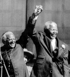 Remembering Nelson Mandela, South Africa's first black president Nelson Mandela, Desmond Tutu, Childhood Images, Human Rights Activists, First Black President, Black Presidents, Star Wars, Nobel Peace Prize, Mark Hamill
