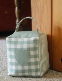 Gingham and Stripe Doorstop, Handmade in Yorkshire by Patchwork Rose www.patchworkrose.co.uk