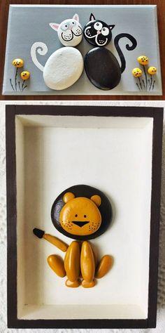 MENTŐÖTLET - kreáció, újrahasznosítás: Egyszerű kavicsképek gyerekszobába Drawings, Frame, Stones, Painting, Home Decor, Stone Crafts, Creative, Crafting, Picture Frame