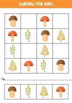Premium Vector   Educational game for children. sudoku with woodland animals. Sudoku Puzzles, Puzzles For Kids, Spelling Games For Kids, Educational Math Games, Kids Math Worksheets, Newspaper Crafts, Autumn Crafts, Kids Corner, Preschool Crafts