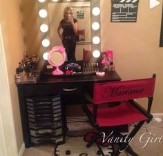 IG Video from @mariana_lpz featuring Hello Kitty and her own fun Hollywood accents and our Black Broadway Table Top mirror $399 www.VanityGirlHollywood.com
