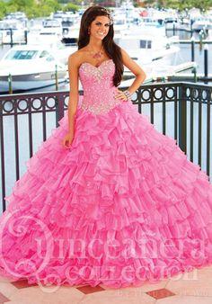 MZ0911 Ball Gown Sweetheart Neckline Organza Rhinestones Corset Bodice Quinceanera Pink Dresses $185.19