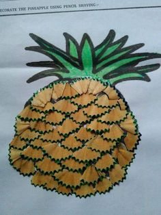 Pineapple craft and art ideas Projects For Kids, Diy For Kids, Crafts For Kids, Arts And Crafts, Paper Crafts, Art Drawings For Kids, Easy Drawings, Art N Craft, Diy Art