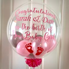 Personalised new parents Gift/new baby girl gift/welcome baby Girl/Pink balloon/balloon in a box/new baby girl/baby girl party Happy to share my newest listing on etsy❤️ Clear Balloons, Bubble Balloons, Pink Balloons, Balloon Balloon, Welcome Baby Girls, New Baby Girls, Baby Girl Gifts, Birthday Balloon Delivery, First Birthday Balloons