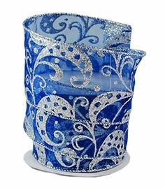 Blue Sheer and Silvercolored Swirl Glitter Wired Ribbon 40  25in x 10 yards * Check this awesome product by going to the link at the image.Note:It is affiliate link to Amazon.