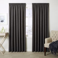 Haven Ash - Readymade Thermal Pencil Pleat Curtain - Curtain Studio buy curtains online