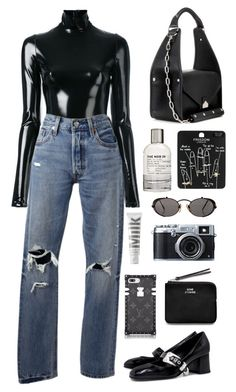"""""""plus tax"""" by millicent4 ❤ liked on Polyvore featuring A.F. Vandevorst, Levi's, Balenciaga, McQ by Alexander McQueen, Topshop, Jean-Paul Gaultier, MILK MAKEUP, Le Labo, Fujifilm and Acne Studios"""