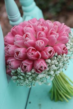 Pink Tulips with a collar of Gypsophila (Baby's Breath) // LSL Event Design