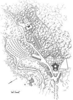 Palazzo Farnese (plan) – Caprarola, Włochy. Założenie ogrodowe, tak jak sam pałac, zaprojektował Giacomo da Vignola niedługo po tym w Villa Lante. Z resztą kardynałowie Alessandro Farnese i Giovanni Gambara dobrze się znali, dlatego bardzo wiele elementów skopiowano z ogrodu Villa Lante.