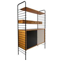 Rare roomdivider cabinet/shelving Nisse Stringing Sweden 1950's