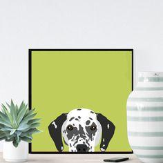 Chien dalmatien sur fond vert - 23x23cm