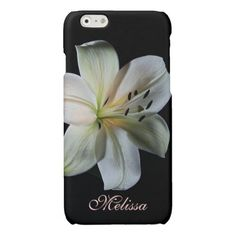 Blushing White Lily iPhone 6 case *personalize*