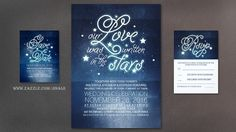 navy wedding invitation - our love was written in the stars