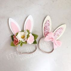Hippity hop! Every little bunny needs pretty ears! The sweetest headband for Easter and Spring...and all year long for imaginative play. This listing is for a set of wool felt bunny ears on a nude nylon headband. The handmade wool felt flowers are in shades of pink and cream and