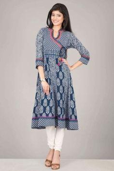 Gorgeous blue & white angrakha style anarkali cotton kurta by farida gupta