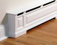 House Heating Made Pretty A baseboard heater is turned into room trim with a cover by OverBoards.A baseboard heater is turned into room trim with a cover by OverBoards. Baseboard Heater Covers, Baseboard Heating, Baseboard Radiator, Baseboard Trim, Home Renovation, Home Remodeling, Home Projects, Home Crafts, Baseboard Styles