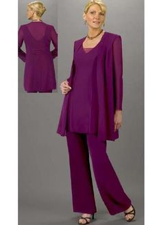 Cheap suit outerwear, Buy Quality custom made suits men directly from China pant pants Suppliers: Custom Made Plus Size Purple Chiffon Mother Of The Bride Pant Suits With 3 Pieces Outfit Vest Pants Suit ONSALE Free Shi Wedding Guest Pants, Wedding Outfits For Women, Mothers Dresses, Bride Dresses, Prom Dresses, Wedding Dresses, Popular Dresses, Mother Of The Bride, Plus Size Dresses