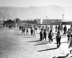 Manzanar Grammar School Fire Drill, 1942-1945, by Toyo Miyatake.  [Manzanar internment camp for Japanese-Americans in California]