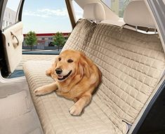 Elegance Linen Quilted Design 100 Waterproof Premium Quality Bench Car Seat Protector Cover Entire Rear Seat for Pets  TIES TO STOP SLIPPING OFF THE BENCH  Beige *** Check out the image by visiting the link. (This is an affiliate link) #CarTravelAccessories