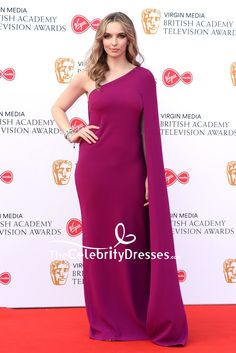 #JodieComer looked divine in a magenta purple column #gown with a single cape sleeve at the 2019 Virgin Media British Academy Television Awards.