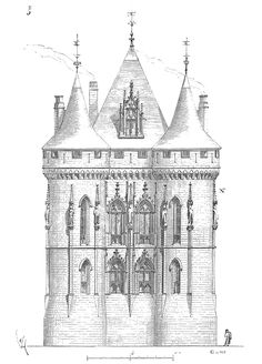Palais de Poitiers, elevation of the facade by Viollet-le-Duc