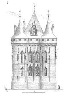 Palais de Poitiers, elevation of the facade by Viollet-le-Duc