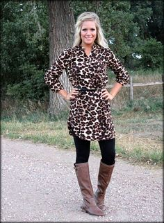 cheetah print tunic dress with belt: this is so cute and simple.