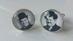 Laurel and hardy cufflinks silver plated  custom pictures gift wedding birthday