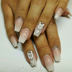 Ombre nude, modern french, modern pink and white, swarovski crystals, chalk white crystals