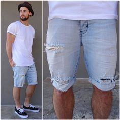 summer style The perfect basic tee with denim cutoffs and vans, all from Fedora Outfit, Fedora Hat, Summer Outfits Men, Short Outfits, Streetwear Mode, Streetwear Fashion, Collection 2017, Look Man, Mens Fashion Suits